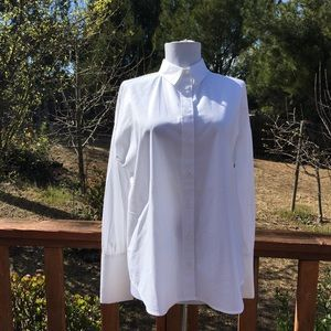 Express white balloon sleeve button up blouse